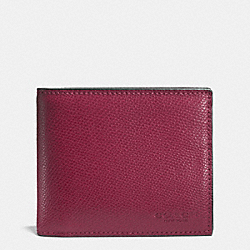 COACH COMPACT ID WALLET IN CROSSGRAIN LEATHER - BLACK CHERRY - F74974