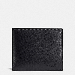 COACH COMPACT ID WALLET IN CROSSGRAIN LEATHER - MIDNIGHT NAVY - F74974