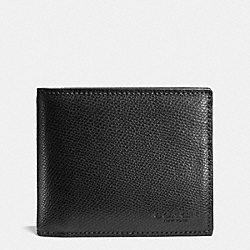 COMPACT ID IN CROSSGRAIN LEATHER - BLACK - COACH F74974