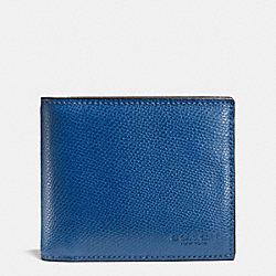 COACH COMPACT ID IN CROSSGRAIN LEATHER - DENIM - F74974