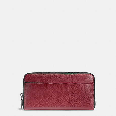 COACH ACCORDION WALLET IN CROSSGRAIN LEATHER - BLACK CHERRY - f74977