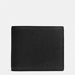 COMPACT ID IN NOVELTY LEATHER - BLACK - COACH F74980