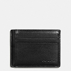 COACH SLIM CARD CASE IN CROSSGRAIN LEATHER - BLACK - F74983