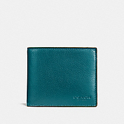 COACH COMPACT ID WALLET IN SPORT CALF LEATHER - ATLANTIC - F74991