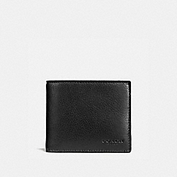 COACH COMPACT ID WALLET IN SPORT CALF LEATHER - BLACK - F74991