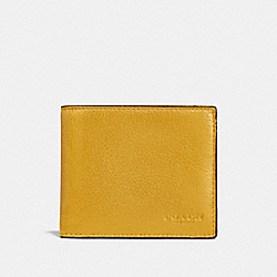 COACH COMPACT ID WALLET IN SPORT CALF LEATHER - FLAX - F74991