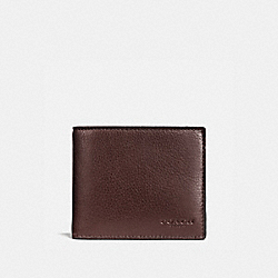 COACH COMPACT ID WALLET IN SPORT CALF LEATHER - MAHOGANY - F74991