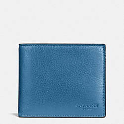 COACH COMPACT ID WALLET IN SPORT CALF LEATHER - SLATE - F74991