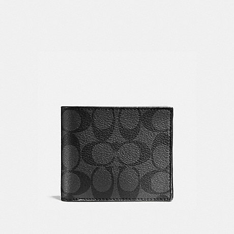 COACH COMPACT ID WALLET IN SIGNATURE CANVAS - CHARCOAL/BLACK - F74993