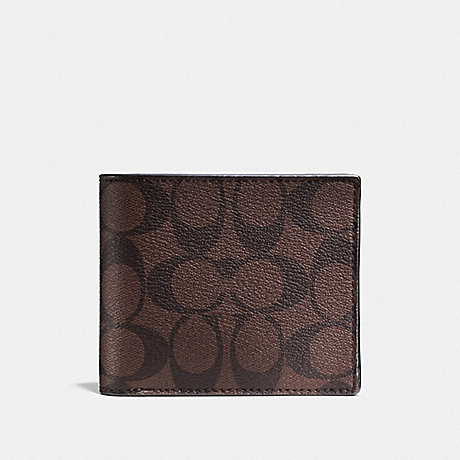 COACH COMPACT ID WALLET IN SIGNATURE CANVAS - MAHOGANY/BROWN - F74993