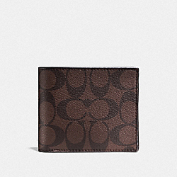COACH COMPACT ID WALLET IN SIGNATURE - MAHOGANY/BROWN - F74993