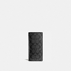 COACH BREAST POCKET WALLET IN SIGNATURE - CHARCOAL/BLACK - F75013