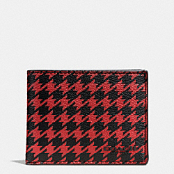 SLIM BILLFOLD ID WALLET IN PATTERN COATED CANVAS - RED HOUNDSTOOTH - COACH F75015