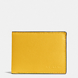 COACH SLIM BILLFOLD ID WALLET IN SPORT CALF LEATHER - BANANA - F75016
