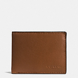 COACH SLIM BILLFOLD ID WALLET IN SPORT CALF LEATHER - DARK SADDLE - F75016
