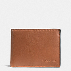 SLIM BILLFOLD ID WALLET IN SPORT CALF LEATHER - SADDLE - COACH F75016