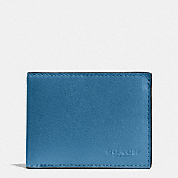 COACH SLIM BILLFOLD ID WALLET IN SPORT CALF LEATHER - SLATE - F75016