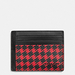 SLIM CARD CASE IN PATTERN COATED CANVAS - f75021 - RED HOUNDSTOOTH