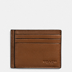 COACH SLIM CARD CASE IN SPORT CALF LEATHER - DARK SADDLE - F75022