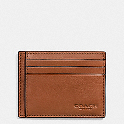 SLIM CARD CASE IN SPORT CALF LEATHER - SADDLE - COACH F75022