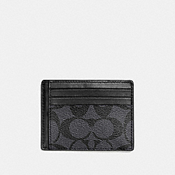 SLIM ID CARD CASE IN SIGNATURE - f75027 - CHARCOAL/BLACK