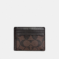 COACH SLIM ID CARD CASE IN SIGNATURE - MAHOGANY/BROWN - F75027
