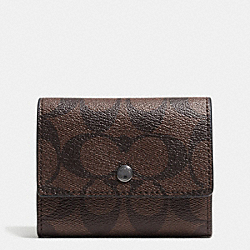 COIN CASE IN SIGNATURE - f75028 - MAHOGANY/BROWN