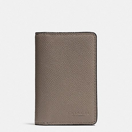 COACH CARD WALLET IN CROSSGRAIN LEATHER - FOG - f75064