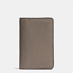 COACH CARD WALLET IN CROSSGRAIN LEATHER - FOG - F75064