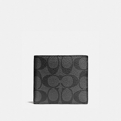 COACH DOUBLE BILLFOLD WALLET IN SIGNATURE - CHARCOAL/BLACK - f75083