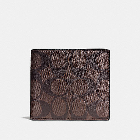 COACH DOUBLE BILLFOLD WALLET IN SIGNATURE CANVAS - MAHOGANY/BROWN - F75083