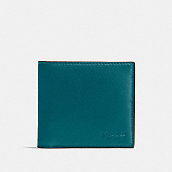 COACH DOUBLE BILLFOLD WALLET IN CALF LEATHER - ATLANTIC - F75084