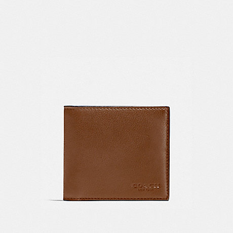 COACH DOUBLE BILLFOLD WALLET - DARK SADDLE - F75084