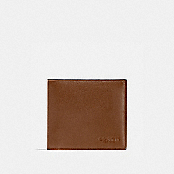 COACH DOUBLE BILLFOLD WALLET IN CALF LEATHER - DARK SADDLE - F75084