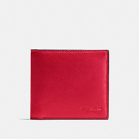 COACH DOUBLE BILLFOLD WALLET - TRUE RED - f75084