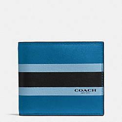 COMPACT ID WALLET IN VARSITY CALF LEATHER - DENIM - COACH F75086
