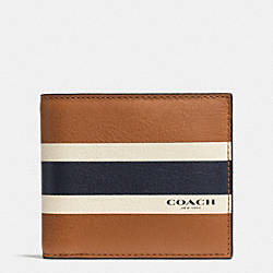 COMPACT ID WALLET IN VARSITY CALF LEATHER - SADDLE - COACH F75086