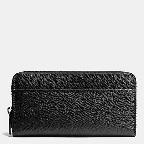 COACH f75097 ACCORDION WALLET IN CROSSGRAIN LEATHER BLACK