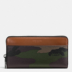 COACH ACCORDION ZIP WALLET IN CAMO COATED CANVAS - GREEN CAMO - F75099