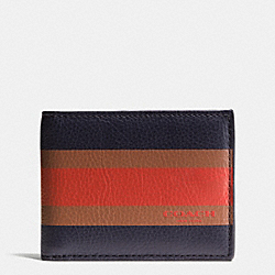 SLIM BILLFOLD ID WALLET IN VARSITY SPORT CALF LEATHER - MIDNIGHT NAVY - COACH F75138
