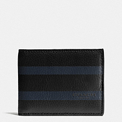 SLIM BILLFOLD ID WALLET IN VARSITY SPORT CALF LEATHER - BLACK - COACH F75138