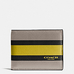 SLIM BILLFOLD ID WALLET IN VARSITY SPORT CALF LEATHER - FOG - COACH F75138