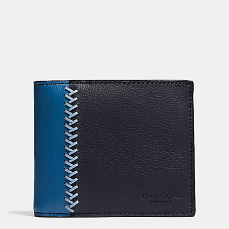 COACH f75170 COMPACT ID WALLET IN BASEBALL STITCH LEATHER MIDNIGHT NAVY