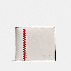 COMPACT ID WALLET IN BASEBALL STITCH LEATHER - f75170 - CHALK