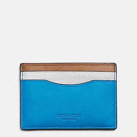 COACH CARD CASE IN SPORT CALF LEATHER - AZURE/SADDLE - f75173