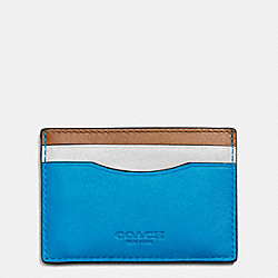 COACH CARD CASE IN SPORT CALF LEATHER - AZURE/SADDLE - F75173