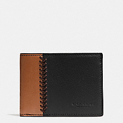 SLIM BILLFOLD ID WALLET IN BASEBALL STITCH LEATHER - BLACK - COACH F75178