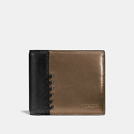 COACH RIP AND REPAIR COMPACT ID WALLET - FATIGUE/BLACK - F75193