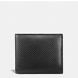 COACH COMPACT ID WALLET IN PERFORATED LEATHER - BLACK - F75197