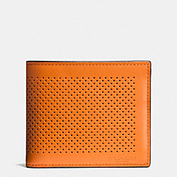 COACH COMPACT ID WALLET IN PERFORATED LEATHER - ORANGE/GRAPHITE - F75197